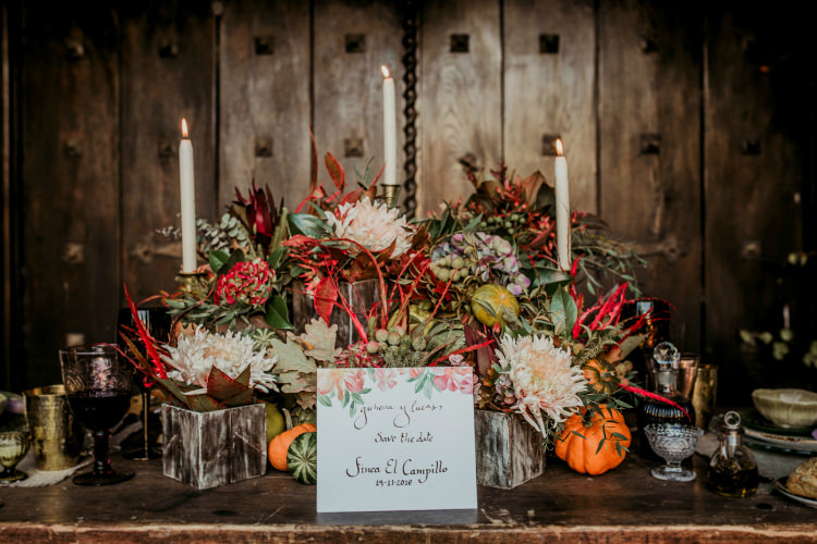 Reception Table Setting Rustic Theme Fresh Flowers Pumpkins Calligraphy Stationery Gold Candlesticks From Dawn To Eternity Autumnal Wedding Ideas http://www.nataliaibarra.com