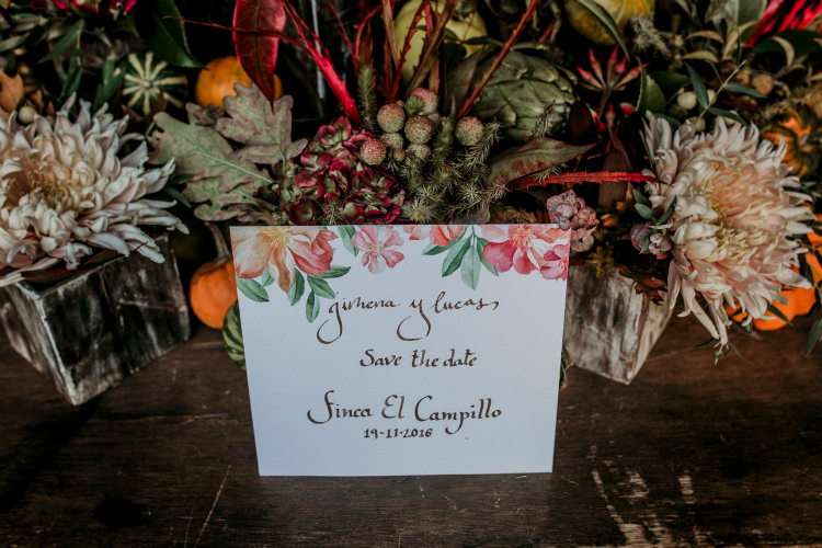 Reception Table Setting Fresh Flowers Pumpkins Calligraphy Stationery From Dawn To Eternity Autumnal Wedding Ideas http://www.nataliaibarra.com