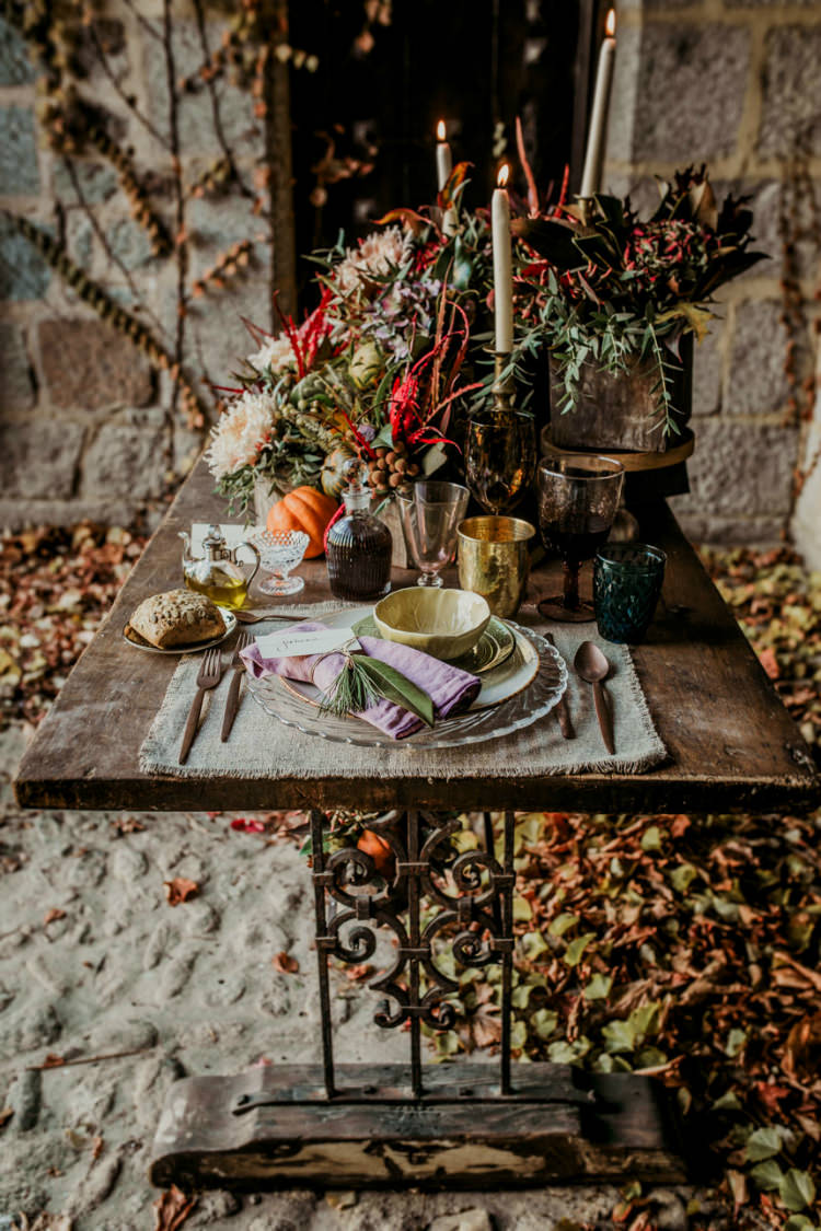 Rustic Reception Table Setting Fresh Flowers Pumpkins Mismatched Vintage China Gold Candlesticks Wooden Table From Dawn To Eternity Autumnal Wedding Ideas http://www.nataliaibarra.com