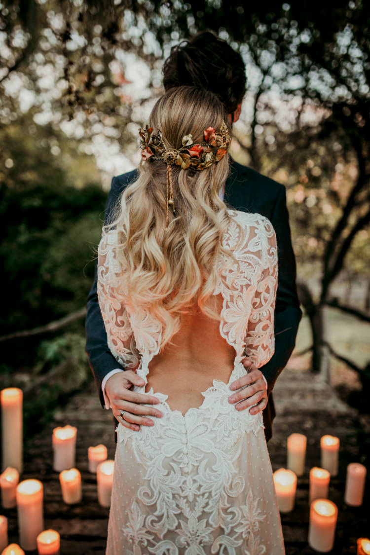 Bride Lace Backless Bridal Gown Intricate Autumn Leaves Headpiece Groom Charcoal Suit Candles From Dawn To Eternity Autumnal Wedding Ideas http://www.nataliaibarra.com