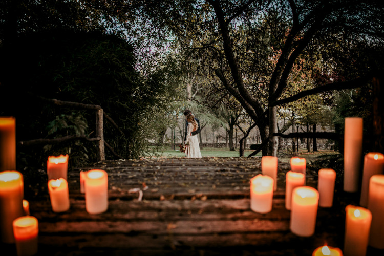 Bride Lace Backless Bridal Gown Groom Charcoal Suit Candles Bridge From Dawn To Eternity Autumnal Wedding Ideas http://www.nataliaibarra.com