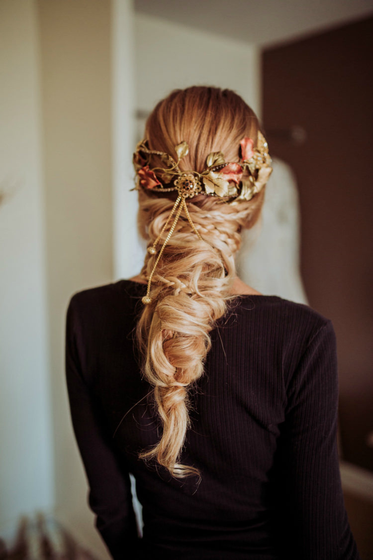 Bride Intricate Headpiece Autumn Leaves Gold Fishtail Braid Hairstyle From Dawn To Eternity Autumnal Wedding Ideas http://www.nataliaibarra.com