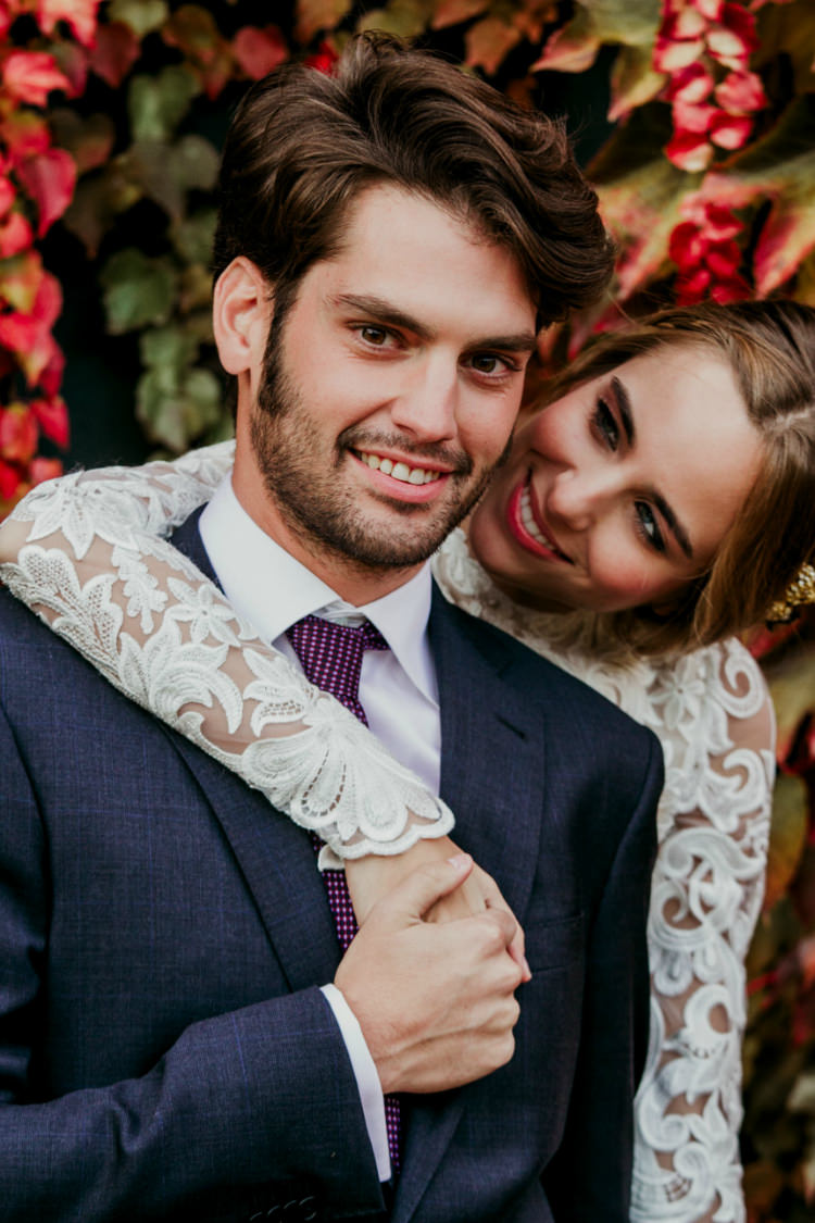 Bride Lace Backless Bridal Gown Groom Charcoal Suit Purple Patterned Tie Autumn Leaves From Dawn To Eternity Autumnal Wedding Ideas http://www.nataliaibarra.com