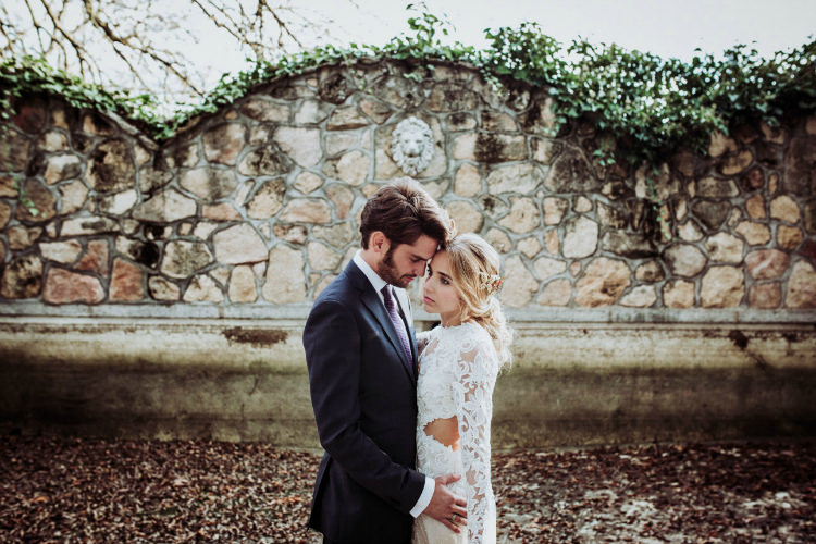 Bride Lace Backless Bridal Gown Intricate Autumn Leaves Headpiece Groom Charcoal Suit Purple Patterned Tie From Dawn To Eternity Autumnal Wedding Ideas http://www.nataliaibarra.com