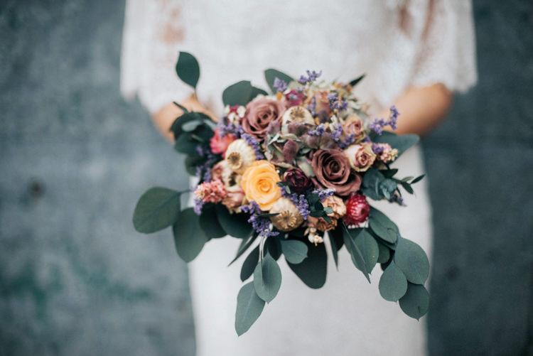 Dried Flower Bouquet Bride Bridal Rose Seed Heads Bohemian Mermaid Wedding Ideas https://www.elizaclaire.com/