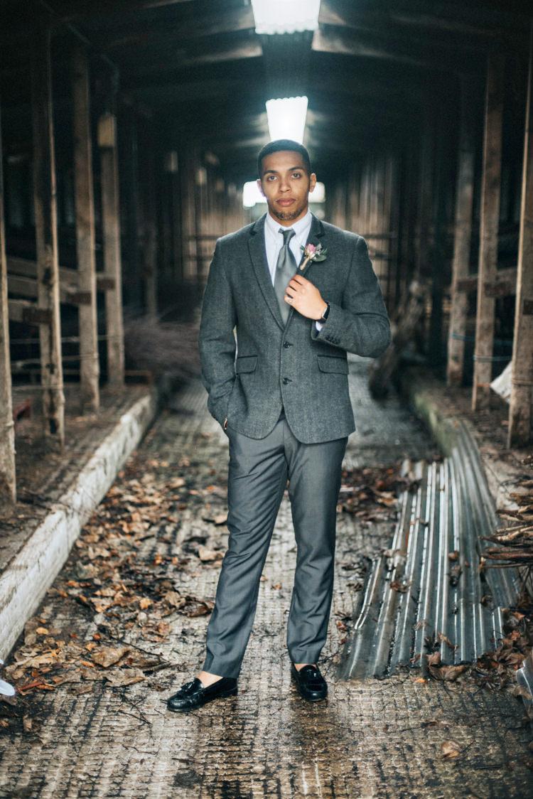 Groom Grey Suit Tie Loafers Bohemian Mermaid Wedding Ideas https://www.elizaclaire.com/