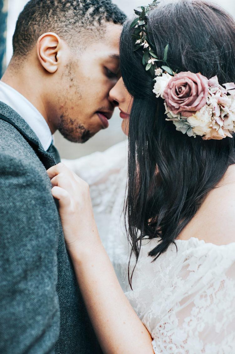 Bride Bridal Headdress Flower Crown Bohemian Mermaid Wedding Ideas https://www.elizaclaire.com/