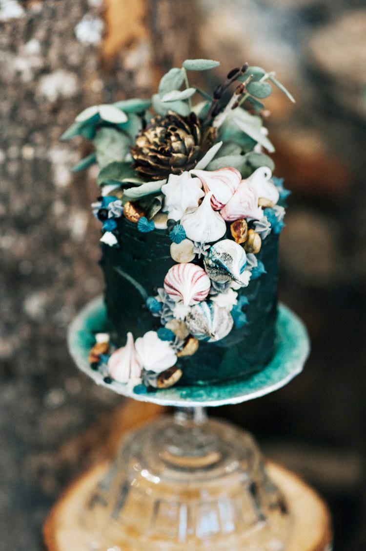 Shell Cake Sea Whimsical Black Green Gold Bohemian Mermaid Wedding Ideas https://www.elizaclaire.com/