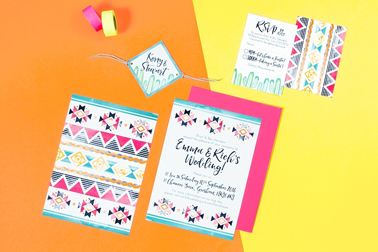 Stationery Invitation Mexican Inspired Colourful Cactus Wedding http://katherineashdown.co.uk/