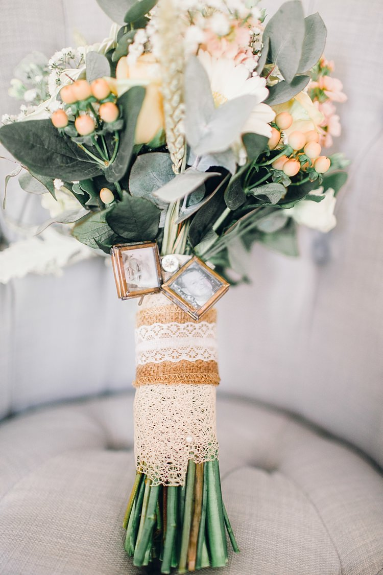 Hessian Burlap Lace Locket Bouquet Wrap Flowers Bride Bridal Classic Rustic Home Made Country Wedding http://www.jessicareeve-photography.com/