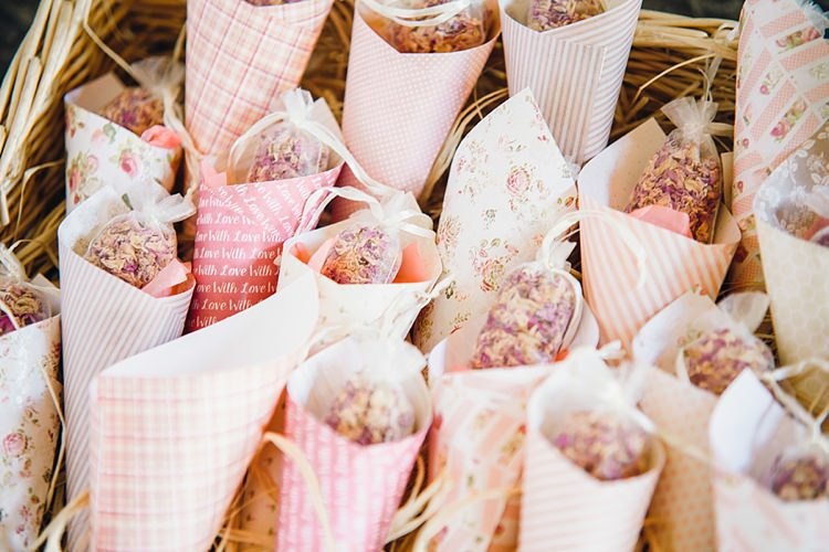 Petal Confetti Cones Classic Rustic Home Made Country Wedding http://www.jessicareeve-photography.com/