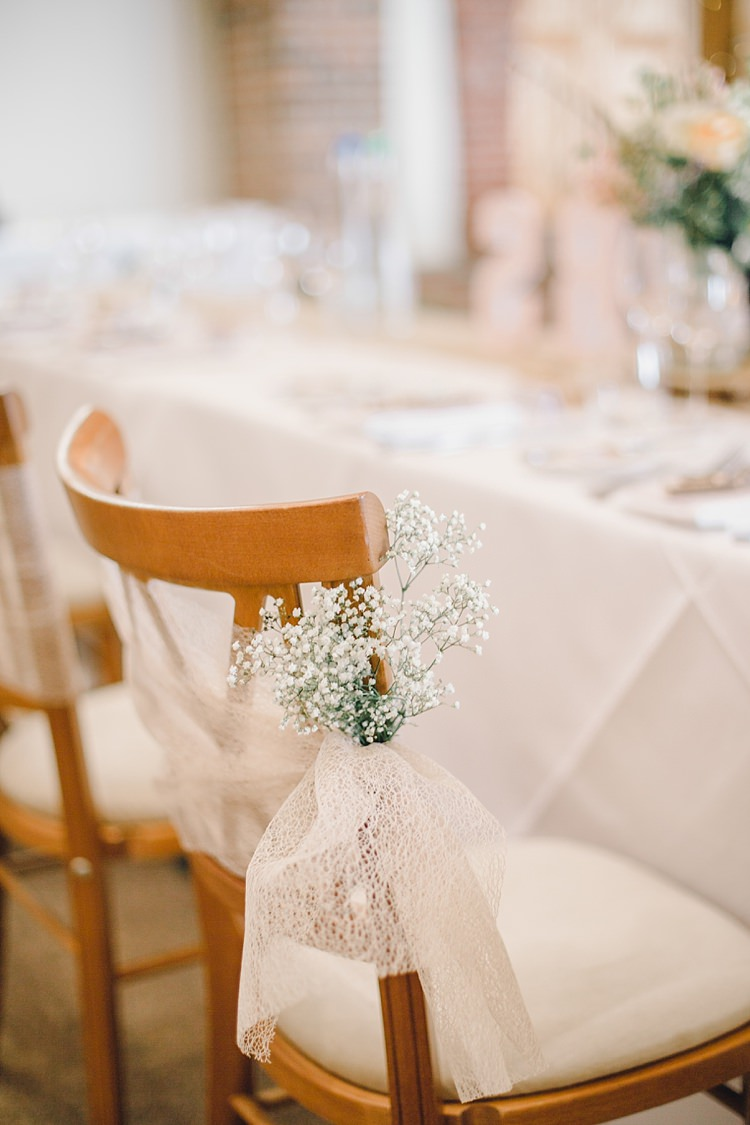 Gyp Gypsophila Baby Breath Pew End Chair Decor Bows Classic Rustic Home Made Country Wedding http://www.jessicareeve-photography.com/