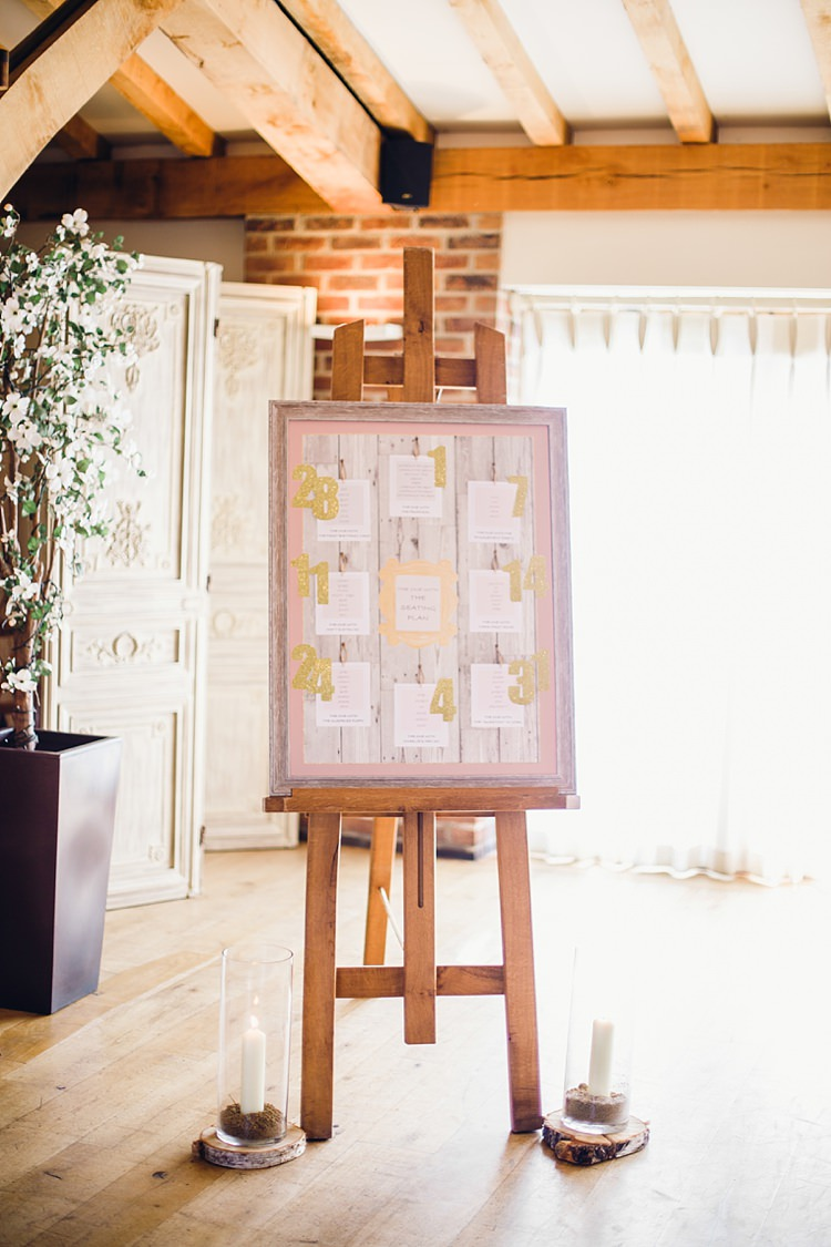 Frame Seating Plan Chart Table Glitter Gold Classic Rustic Home Made Country Wedding http://www.jessicareeve-photography.com/