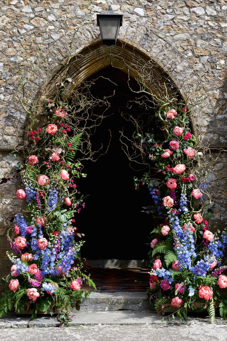 Church Flowers Arch Entrance Display Pink Blue Summer Floral Artistic Farm Wedding http://elizabetharmitage.com/