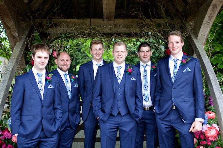 Groom Groomsmen Navy Suits Blue Ties Floral Artistic Farm Wedding http://elizabetharmitage.com/
