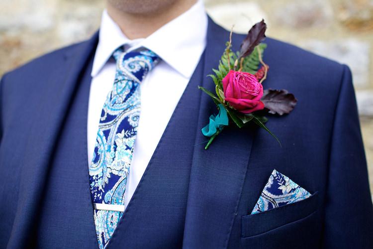 Pink Rose Buttonhole Groom Lapel Floral Artistic Farm Wedding http://elizabetharmitage.com/