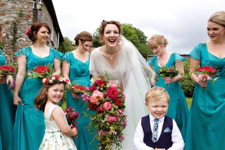Jade Green Bridesmaid Dresses Floral Artistic Farm Wedding http://elizabetharmitage.com/