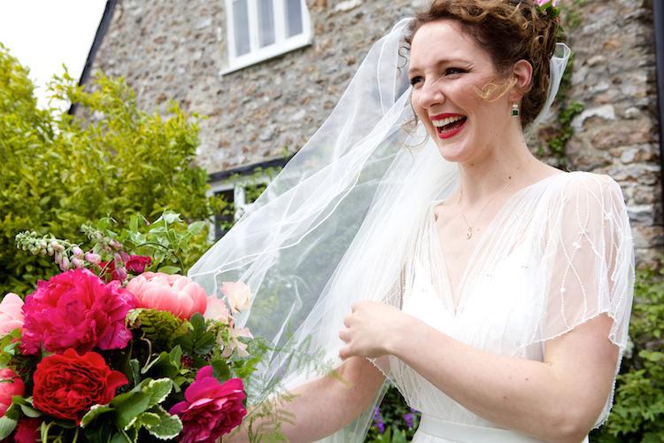 Veil Bride Bridal Style Floral Artistic Farm Wedding http://elizabetharmitage.com/