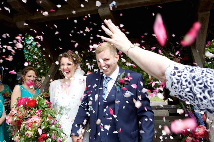 Confetti Throw Bride Groom Floral Artistic Farm Wedding http://elizabetharmitage.com/