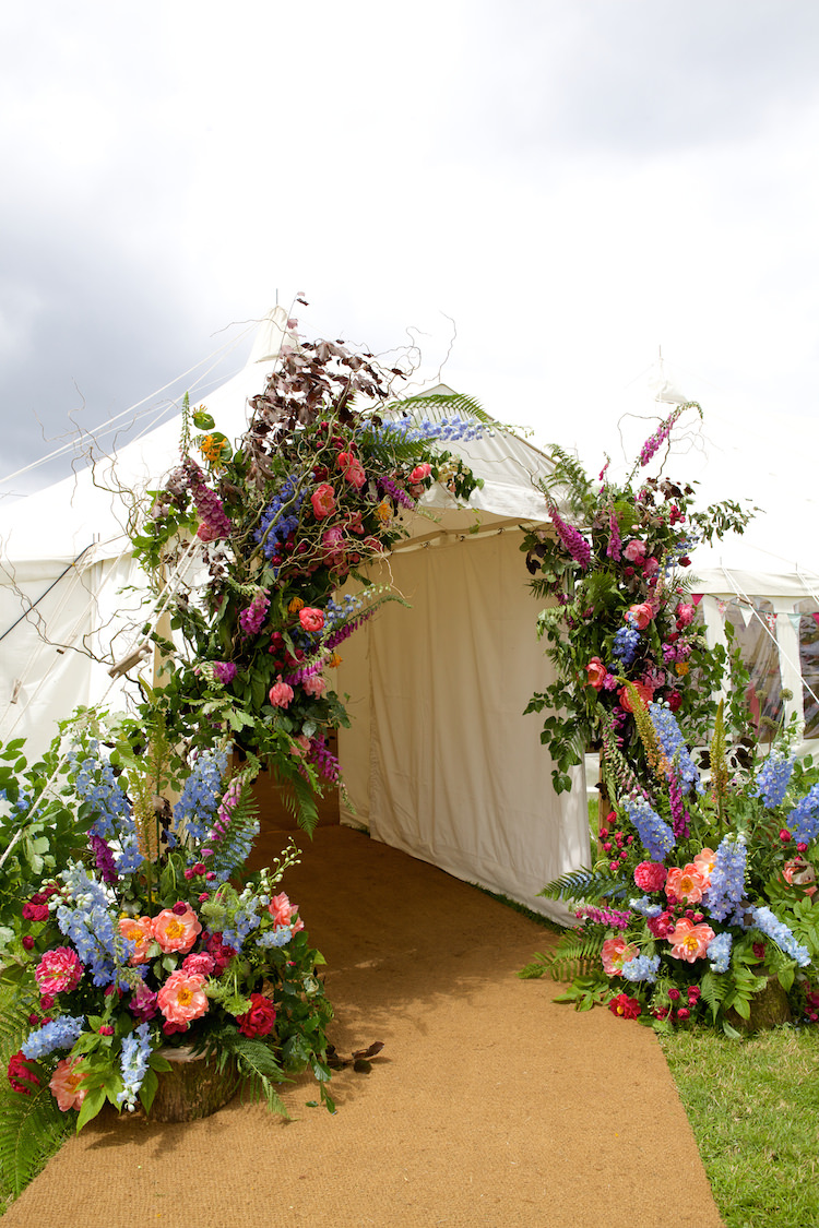 Flowers Display Entrance Marquee Large Floral Artistic Farm Wedding http://elizabetharmitage.com/