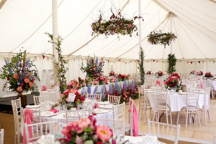 Summer Marquee Flowers Pink Blue Floral Artistic Farm Wedding http://elizabetharmitage.com/