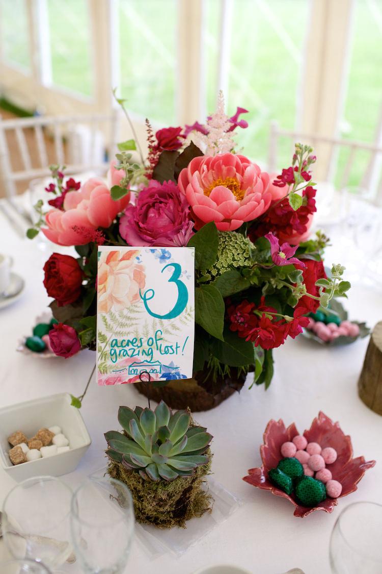 Table Names Watercolour Numbers Floral Artistic Farm Wedding http://elizabetharmitage.com/