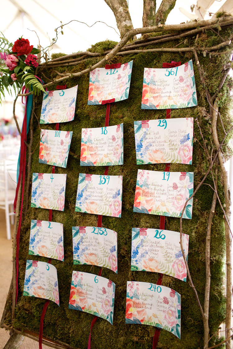 Moss Flowers Branches Seating Plan Table Chart Floral Artistic Farm Wedding http://elizabetharmitage.com/