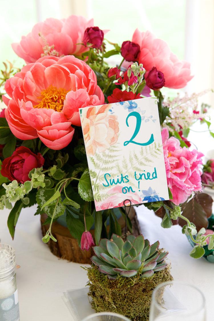 Table Numbers Names Stationery Floral Artistic Farm Wedding http://elizabetharmitage.com/