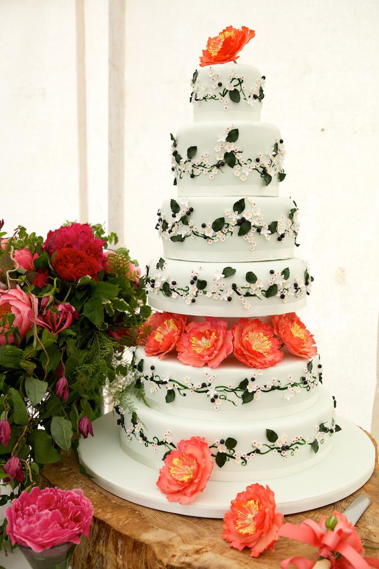 Tall Cake Peonies Floral Artistic Farm Wedding http://elizabetharmitage.com/