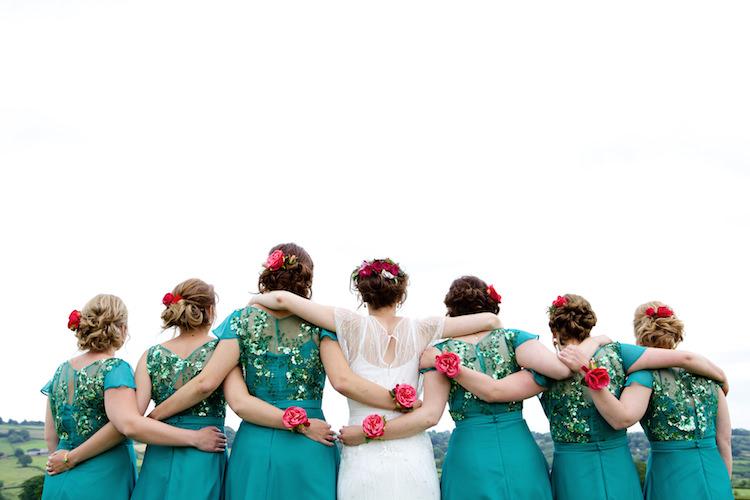 Jade Green Sequin Bridesmaid Dresses Floral Artistic Farm Wedding http://elizabetharmitage.com/