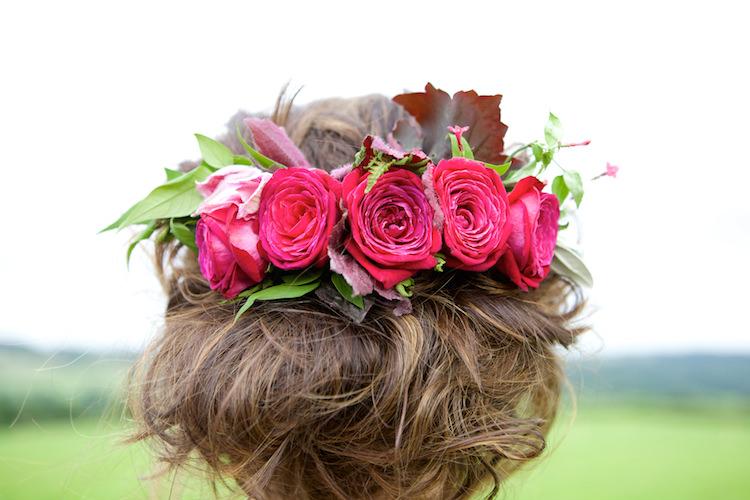 Roses Flowers Hair Bride Bridal Floral Artistic Farm Wedding http://elizabetharmitage.com/