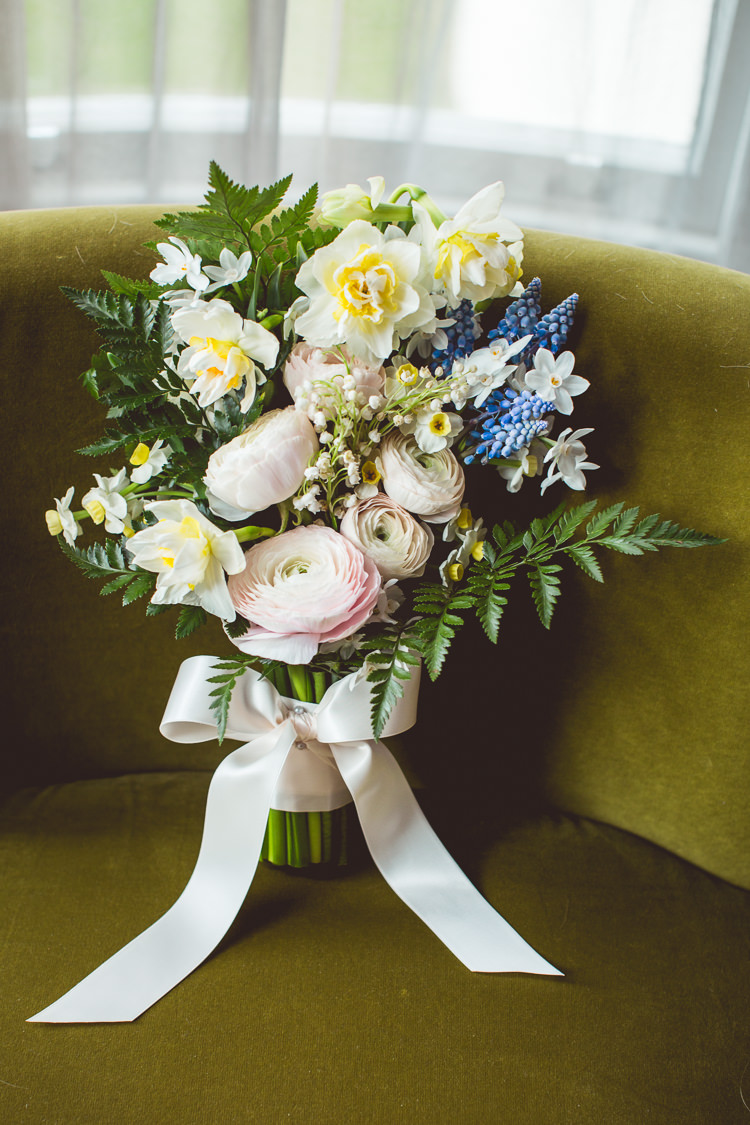 Bouquet Paperwhites Muscari Ranunculus Lily of the Valley Quirky Springtime Easter Wedding https://www.katejacksonphotography.co.uk/