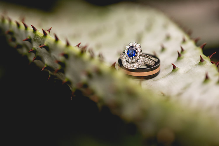 Sapphire Halo Engagement Ring Bands Fun Quirky 1950s Wedding http://www.lisacarpenterphotos.com/