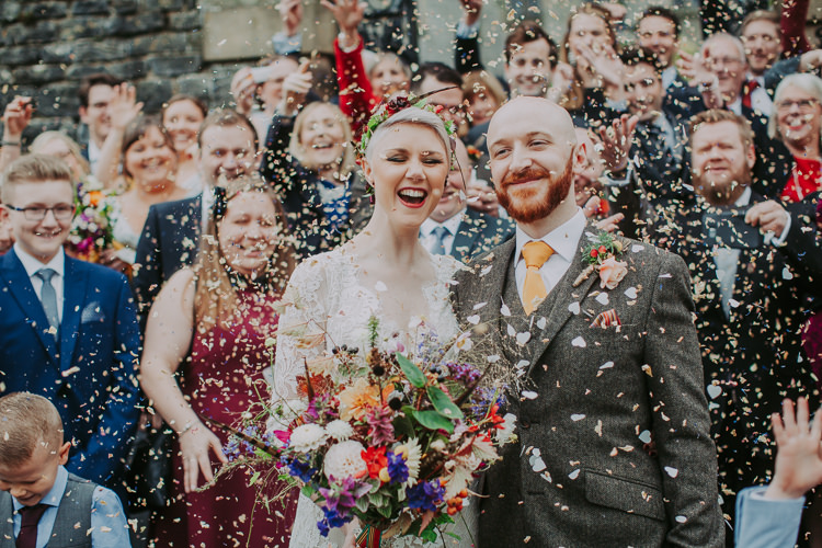 Confetti Petal Throw Bride Groom Autumn Weekend Extravaganza Tipi Wedding http://bloomweddings.co.uk/
