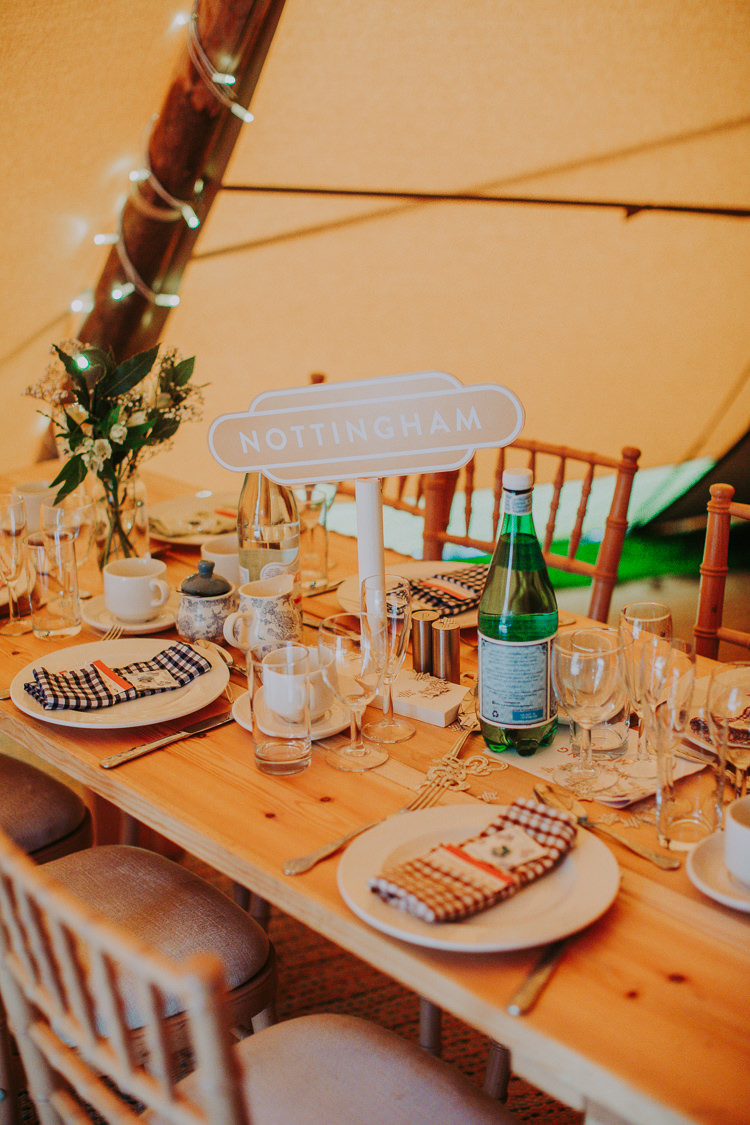 Train Station Table Names Rustic Decor Autumn Weekend Extravaganza Tipi Wedding http://bloomweddings.co.uk/