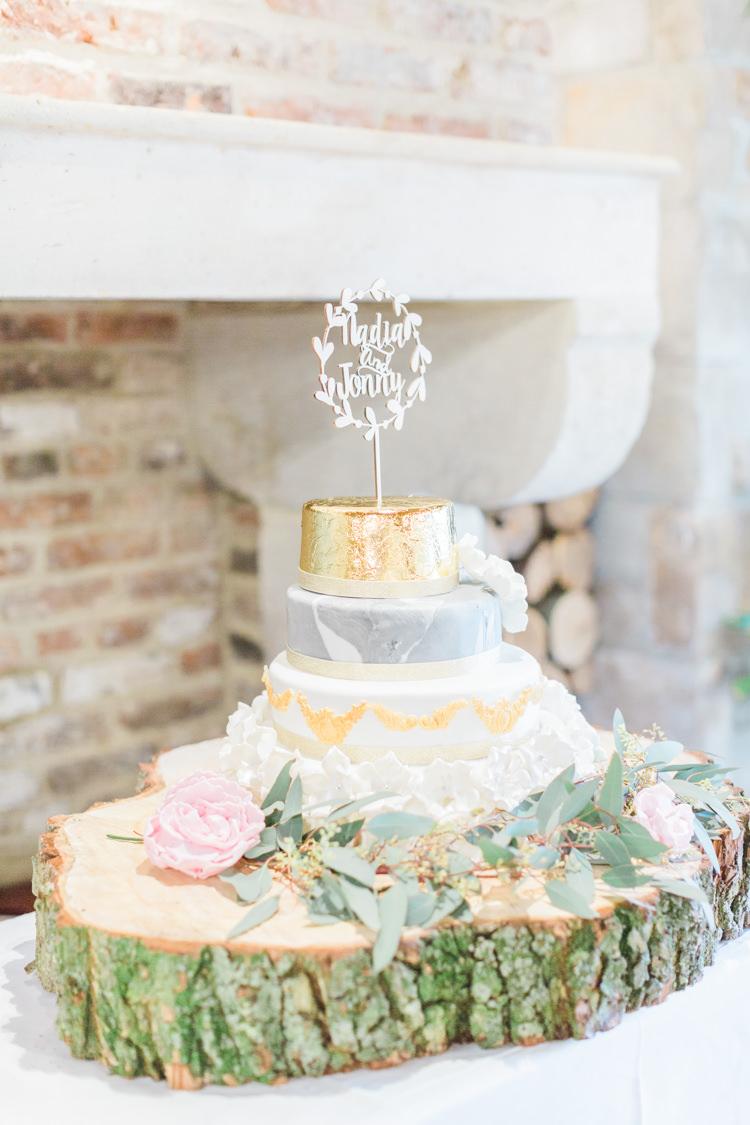 Cake Metalic Gold Grey Log Stand Whimsical Elegant Classic Wedding http://katymelling.com/