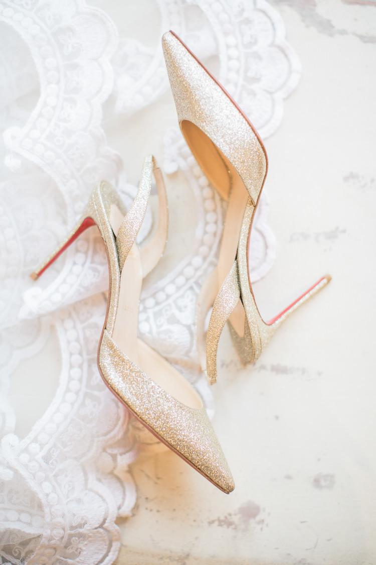 Christian Louboutin Gold Glitter Shoes Heels Bride Bridal Slingbacks Whimsical Elegant Classic Wedding http://katymelling.com/
