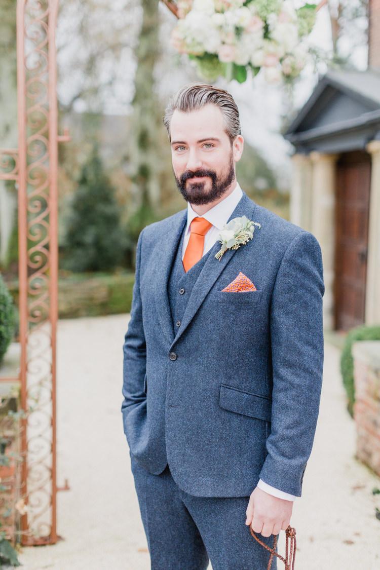 Blue Tweed Suit Orange Tie Groom Whimsical Elegant Classic Wedding http://katymelling.com/