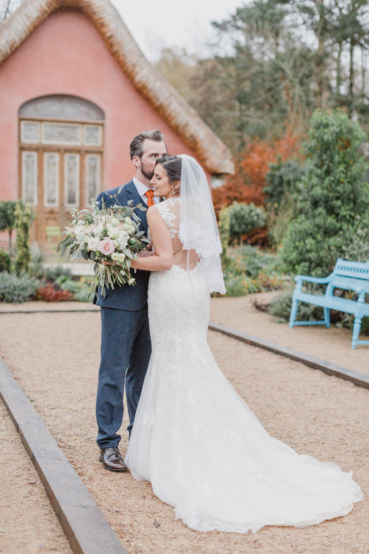 Lace Illusion Back Dress Gown Bride Bridal Train Benjamin Roberts Whimsical Elegant Classic Wedding http://katymelling.com/