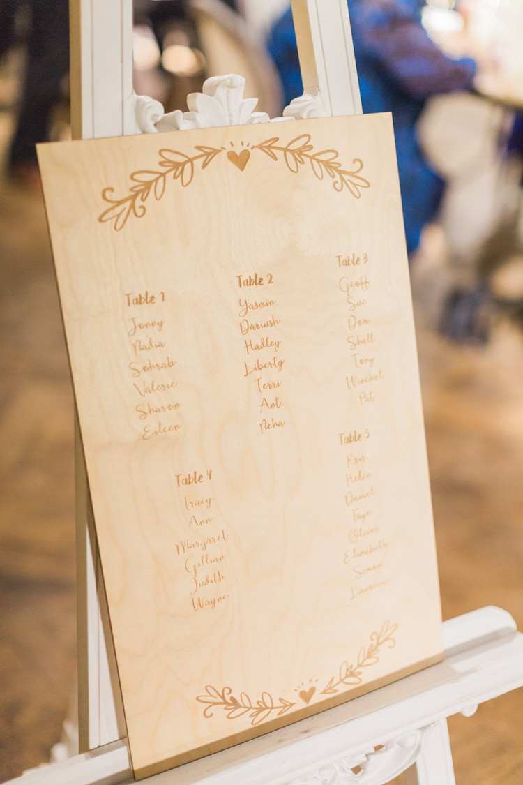 Engraved Wooden Seating Plan Table Chart Whimsical Elegant Classic Wedding http://katymelling.com/