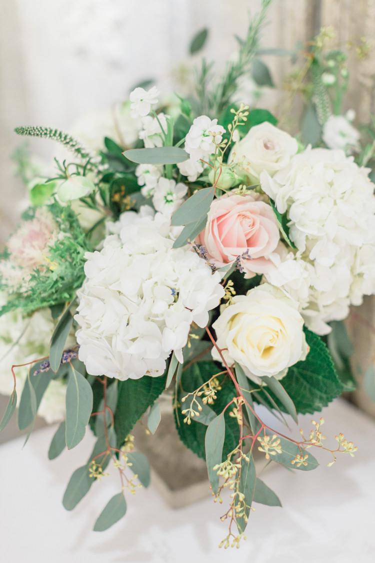 Table Flowers Decor White Cream Pink Rose Hydrangea Foliage Whimsical Elegant Classic Wedding http://katymelling.com/