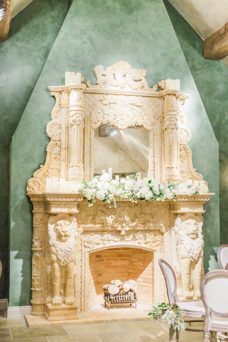 Fireplace Mantle Decor Flowers Candles Whimsical Elegant Classic Wedding http://katymelling.com/
