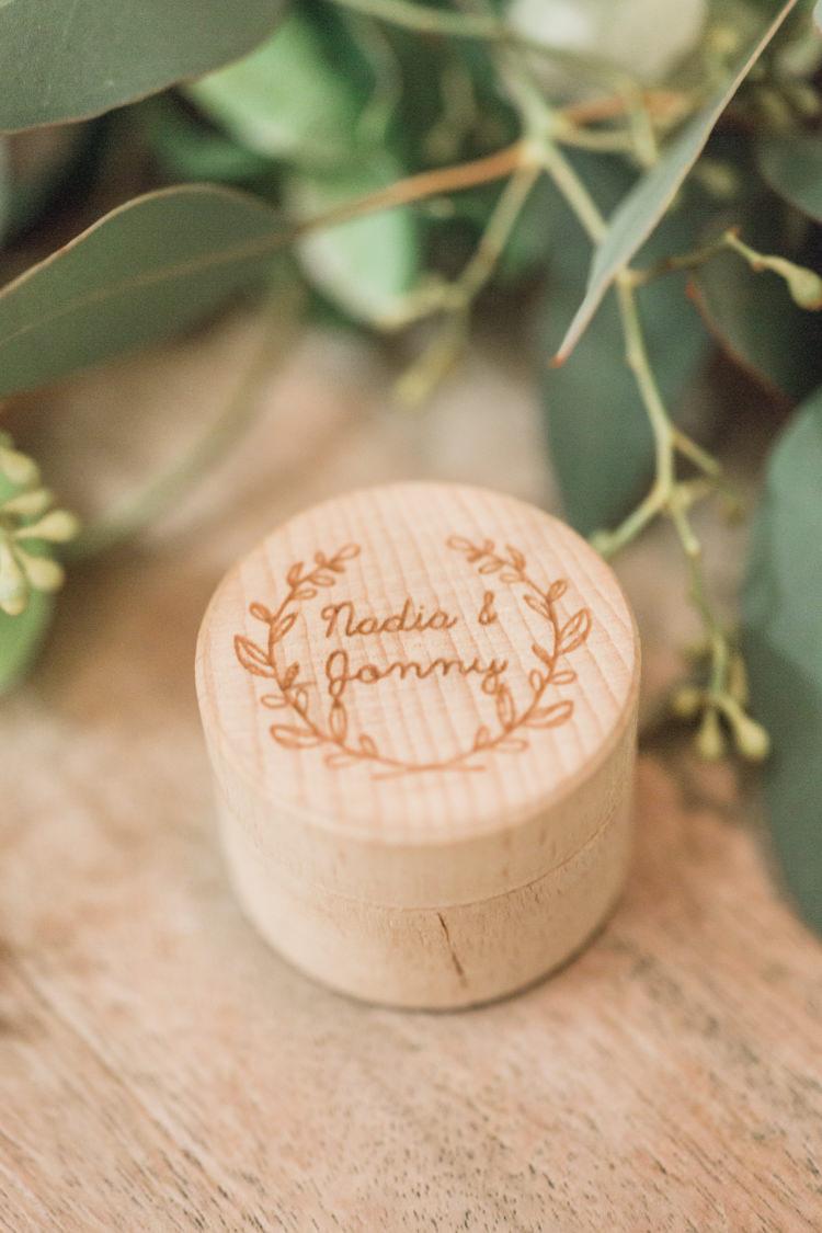 Engraved Wooden Ring Box Whimsical Elegant Classic Wedding http://katymelling.com/