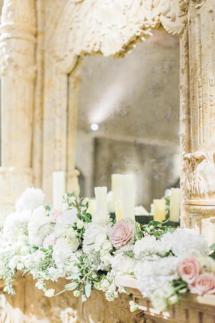 Fireplace Mantle Flowers Candles Decor Whimsical Elegant Classic Wedding http://katymelling.com/