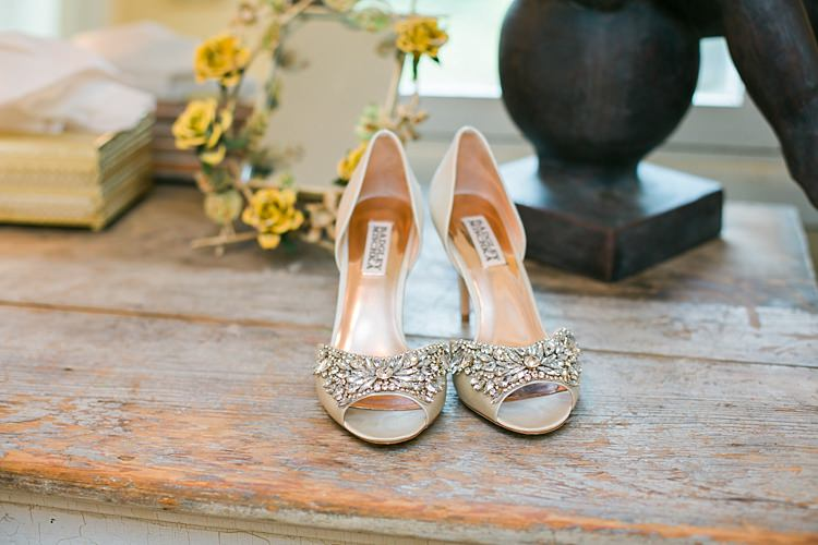 Bride Badgley Mischka Crystal High Heels Bridal Accessories Flower Farm Outdoor Wedding Minnesota http://eileenkphoto.com/