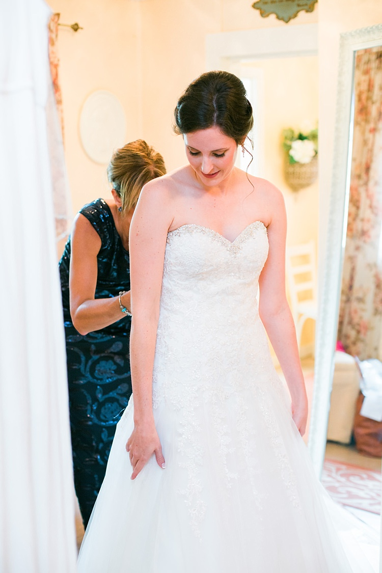 Bride Embellished Strapless Bridal Gown Ceremony Preparations Flower Farm Outdoor Wedding Minnesota http://eileenkphoto.com/