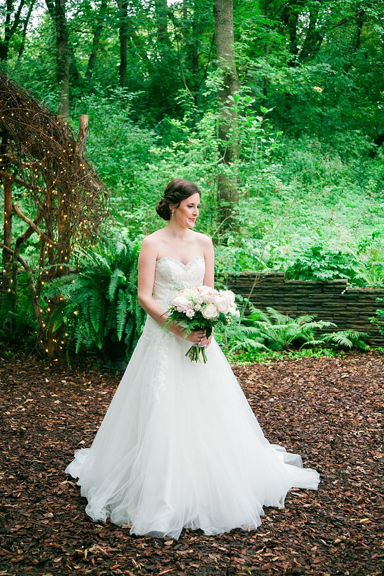 Bride Embellished Strapless Bridal Gown Soft Bun Hairstyle Bouquet Pale Pink White Roses Flower Farm Outdoor Wedding Minnesota http://eileenkphoto.com/