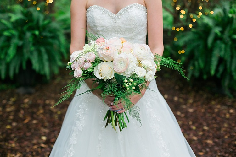 Bride Embellished Strapless Bridal Gown Pale Pink White Bouquet Roses Garden Roses Greenery Fairy Lights Flower Farm Outdoor Wedding Minnesota http://eileenkphoto.com/