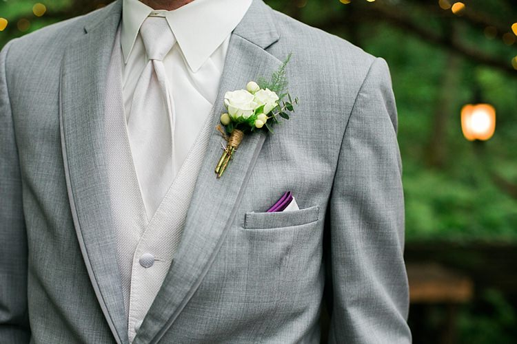 Groom Light Grey Suit White Vest White Tie Purple Pocket Square White Rose Buttonhole Flower Farm Outdoor Wedding Minnesota http://eileenkphoto.com/