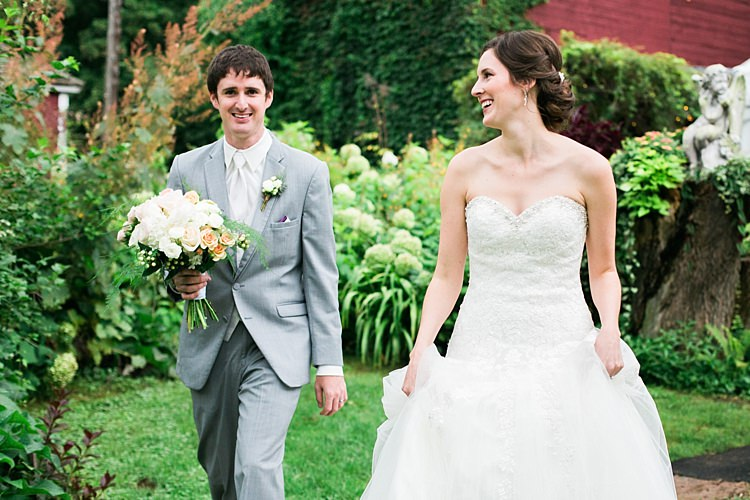 Bride Embellished Strapless Bridal Gown Bouquet Pale Pink White Roses Groom Light Grey Suit White Vest White Tie Tan Shoes Flower Farm Outdoor Wedding Minnesota http://eileenkphoto.com/